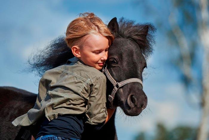 девочка обнимает лошадь